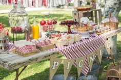 """You know how much we like picnics, so a """"picnic party"""" seemed like a perfect idea to celebrate the second birthday … - Picnic Birthday, Girl First Birthday, 1st Boy Birthday, 1st Birthday Parties, Picnic Party Decorations, Picnic Themed Parties, Company Picnic, Bbq Party, Party Time"""
