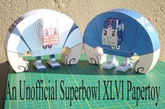 Here are models of your favorite Super Bowl team. Take your pick. Or, start a brawl and build em both. They're FREE.