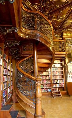 Beautiful Wood and Wrought Iron Spiral Staircase...  I want this library!