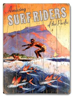 Amazing Surf Riders Wood Sign at AllPosters.com