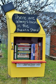 Ashley Nuesmeyer. Galloway, OH. For years I've loved Little Free Libraries and always wanted one. A friend designed and built my very own Bluth's Original Frozen Banana Stand inspired by the TV show Arrested Development. Those who know the show can appreciate the design and quotes written on the chalkboard. I don't really have a strong theme for the Library contents. Mostly it makes me happy and that's what matters in life.