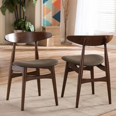 Baxton Studio Set Of 2 Flamingo Mid Century Solid Wood Dining Chairs  (Dining Chair