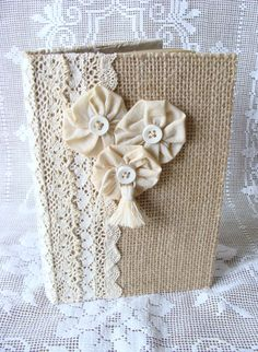 Burlap and Lace Guest Book Journal Diary Notebook by ShabbySoul