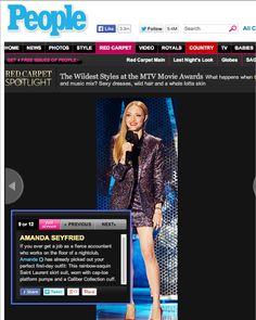 Amanda Seyfried looks amazing in this sequin suit while accessorizing with a Caliber Collection cuff
