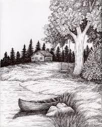 Portrait Nature Scenery Drawing Landscape Sketch Drawing Scenery Landscape Drawings