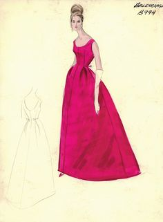 Vintage Sketch of Balenciaga gown, c. 1950s Style, Style Année 60, Fashion Images, Look Fashion, Fashion Design, Vintage Outfits, Vintage Dresses, Fashion Illustrations, Fashion Sketches