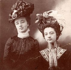 vintage photo Victorian Ladies Big Hats Extended Necks Collars cabinet