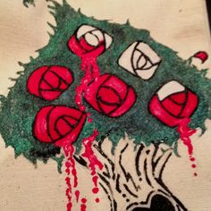 The queen wants her roses red! Custom- hand painted- ridiculously cute canvas tote-- Crystalized Ginger Designs! Order yours today!!!