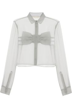 Christopher Kane | Bow-front crinkled-chiffon shirt