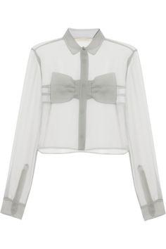 Christopher Kane|Bow-front crinkled-chiffon shirt