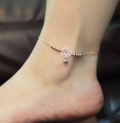 Anklet Jewelry New Korea Style Chinese-ancient-coin-shaped Little Bell Titanium Steel Rose Gold Plated Retro Women's Anklet - Ankle Jewelry, Cute Jewelry, Body Jewelry, Jewelry Accessories, Jewelry Design, Jewlery, Fashion Accessories, Anklet Bracelet, Silver Anklets