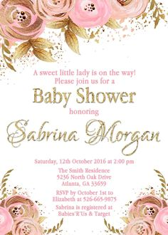 Floral pink and gold invitation - birthday, baby shower, bridal shower