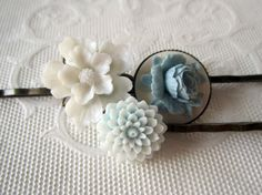 Blue Peony Bobby Pins Flower White Bobby Pins Floral by BigBisous, $14.00