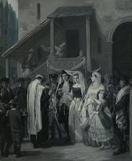 Moritz Daniel Oppenheim (German, The Wedding (Die Trauung), 1866 Note Canopy held up by sticks maybe canopy bearers or flagpole stands. Jewish Art, Religious Art, Jüdisches Museum, Jewish Wedding Ceremony, Lady In My Life, Google Art Project, Jewish Museum, Chuppah, Art Google