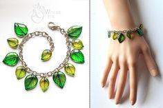 Resin Transparent Bracelet   Green Leaves   by WonderFoxJewelry