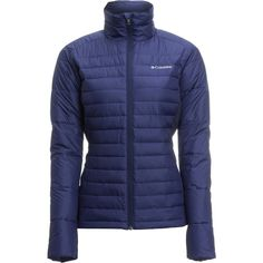 Columbia Powder Pillow Hybrid Jacket (£42) ❤ liked on Polyvore featuring activewear, activewear jackets, columbia sportswear, columbia activewear and columbia