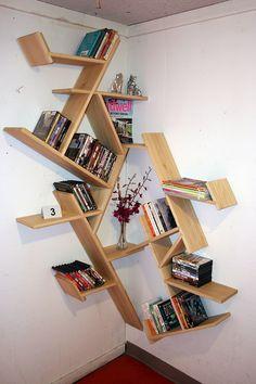 Corner Shelf Design - Vellum Furniture Competition by Jon Freeberg Corner Shelf Design, Diy Corner Shelf, Bookshelf Design, Corner Designs, Unique Bookshelves, Corner Bookshelves, Bookshelf Ideas, Corner Furniture, Furniture Design