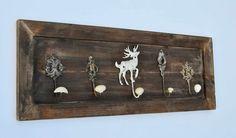 Wandgarderobe Holz braun, 5 Haken Metall und Porzellan, 80 cm: Amazon.de: Küche & Haushalt