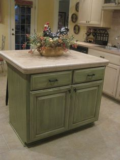 Glazed Kitchen Cabinets In Your Coordinating Color, Add Rollers And A Top  That Folds Out