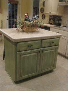 glazed kitchen cabinets green