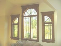 Custom Trim for quarter round window arch Window Crown Moldings, Window Casing, Moldings And Trim, New Home Windows, House Windows, Church Windows, Craftsman Window Trim, Craftsman Style, Arched Windows