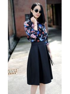 Pleated Solid Color High Waist Mid-Length Fitted Skirt $9.23