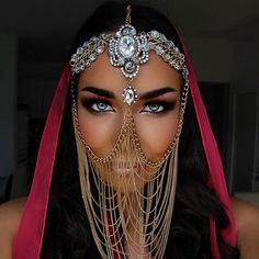 Tribal Face Chain Veil Arabian Burning Man Headdress Rave Wedding Mask Gypsy Festival Belly Dancer Gold Crystal Head Piece Jewelry Bedouin in 2019 Face Jewellery, Headpiece Jewelry, Body Jewelry, Chain Jewelry, Tribal Jewelry, Gold Jewellery, Crystal Jewelry, Arabic Jewelry, Anklet Jewellery