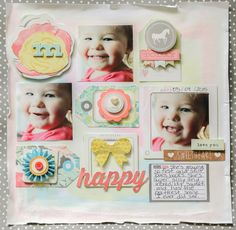 Happy - Scrapbook.com - Use mini square photos to get three or more onto a 12 x 12 layout.