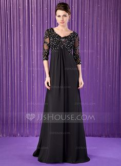 [US$ 159.99] Empire V-neck Sweep Train Chiffon Mother of the Bride Dress With Lace Beading
