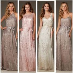 Sequin Bridesmaid Dresses in Taupe, Blush, Ivory, & Navy! #Bridesmaid #BridesmaidDress #Wedding #WeddingParty #SequinBridesmaid