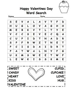 Freebie Valentine Word Search