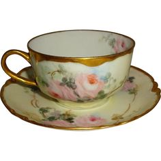 Stunning - Haviland - Limoges - France - French Porcelain - Tea Cup - Saucer - Hand Painted - Romantic Floral Bouquet - Paris Pink Roses - Coin Gold Accents - Only Fine Lines