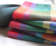 Handwoven Happy Tea Towel Crayon Colored by barefootweaver on Etsy