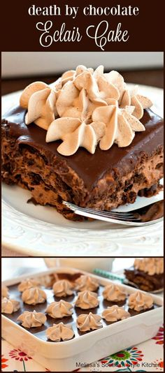 Death By Chocolate Eclair Cake | Melissa's Southern Style Kitchen
