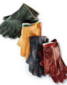 Exklusiv bei HIRMER: feine Lederhandschuhe von TOM RUSBORG. Mit Cashmerefutter und Kontrastnähten.