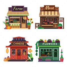 Building Illustration, House Illustration, Illustrations, Vector Design, Vector Art, Meat Farms, Chinese Flowers, Meat Shop, Prop Design