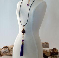 Purple Tassel Necklace Boho Jewelry Amethyst Titanium Coated Bead Gold Long Tassel Necklace Handmade Artisan Jewelry Summer Gifts by BeadIndulgences on Etsy