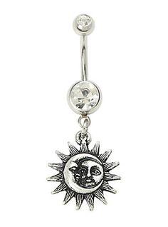 14G Steel Moon & Sun Navel Barbell,