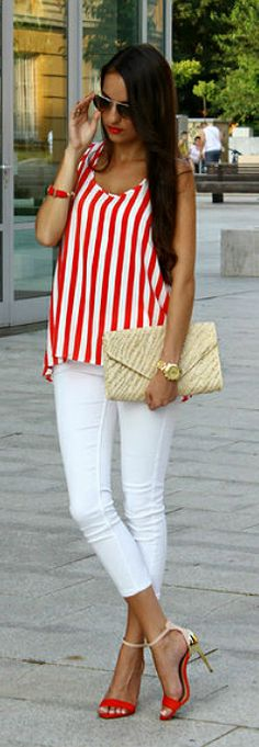 Red Stripes With White /¸.•´¸.•*´¨) ¸.•*¨) (¸.•´ (¸.•` ¤ Be Beautiful/ Weddings Idea for you Cuqui Soto