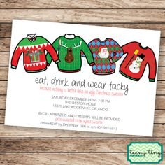 Ugly Tacky Sweater Christmas Party Invitation Printable on Etsy, $11.00