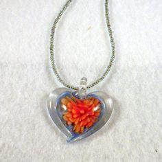 Flower Pattern Heart Lampwork Murano Glass by HippieChildTerra, $18.00