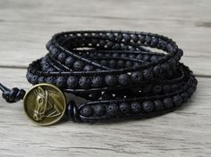► Product Description: The black lava beads size is 4mm. --Bracelet measurement: 2 wraps around wrist - 13 inches 3 wraps around wrist - 22 inches 4 wraps around wrist - 28 inches 5 wraps around wrist - 33.5 inches --bracelet has extra three adjustment loops to fit wrists from 6 to 8 inches. --Button: all the Buttons we have are in the last picture, please leave a note about which button you would like to use, if there is no note, then I will use the button as bracelet shown. ► About…