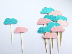Cloud cupcake toppers, Baby shower cake toppers, Gender reveal cupcake toppers, New baby toppers, Cu Baby Shower Cupcake Toppers, Baby Shower Cakes, Baby Shower Themes, Baby Shower Gifts, Baby Gifts, Handmade Shop, Etsy Handmade, Handmade Gifts, Etsy Shop