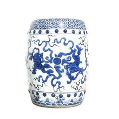 Chinese Blue White Porcelain Round Foo Dogs Stool