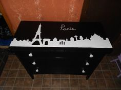 Hand Painted Paris skyline dresser done by Shab Ta Fab  https://www.facebook.com/ShabTaFab