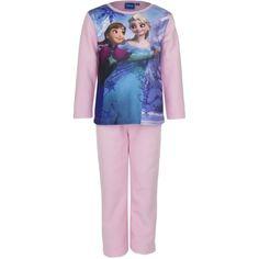 Pluche pyjama Frozen in het lichtroze met Elsa en Anna print, gemaakt van 100% katoen fleece.