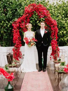 Stunning Bougainvillea wedding arch. #wedding #flowers