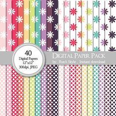 SALE 40 Digital Paper Pack Dot Design Flower Design by rueastyle