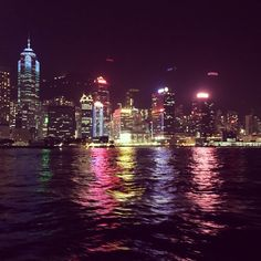 Dark nights and city lights. View of Hong Kong Island from the Harbour  #colour