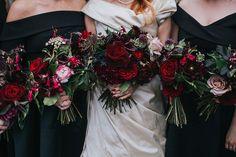 Daring Dark Florals For a Gothic Wedding Theme | CHWV - red bouquet